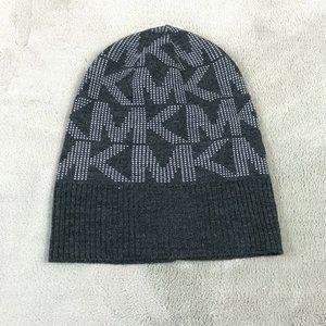 Michael Kors Beanie Logo Winter Warm Knit Gray Cap